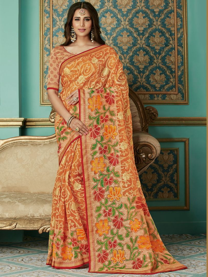 Orange Color Chiffon Brasso Aesthetic Party Wear Sarees NYF-4377 - YellowFashion.in