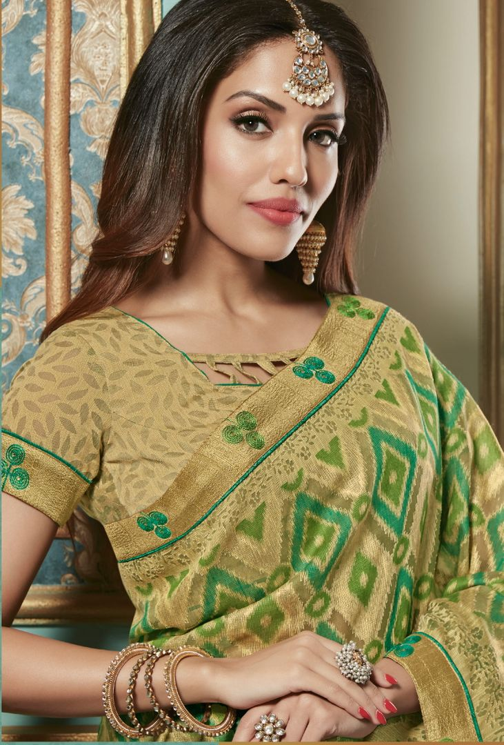 Green Color Bhagalpuri Aesthetic Party Wear Sarees NYF-4378 - YellowFashion.in