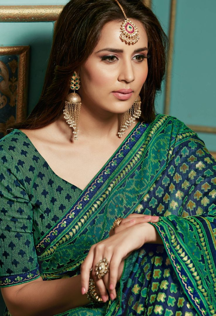 Green Color Bhagalpuri Aesthetic Party Wear Sarees NYF-4379 - YellowFashion.in