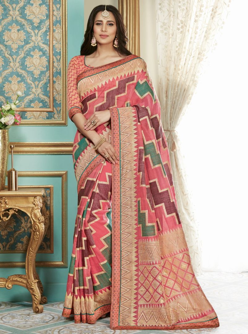 Pink Color Bhagalpuri Aesthetic Party Wear Sarees NYF-4380 - YellowFashion.in