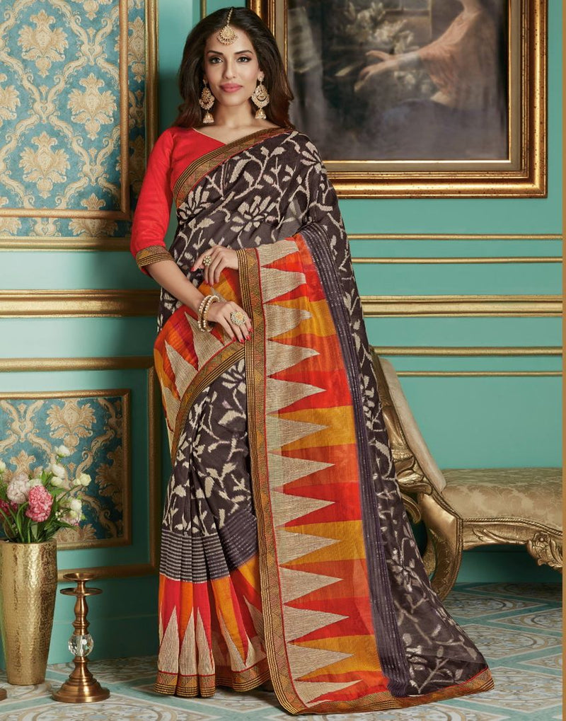 Brown Color Bhagalpuri Aesthetic Party Wear Sarees NYF-4381 - YellowFashion.in