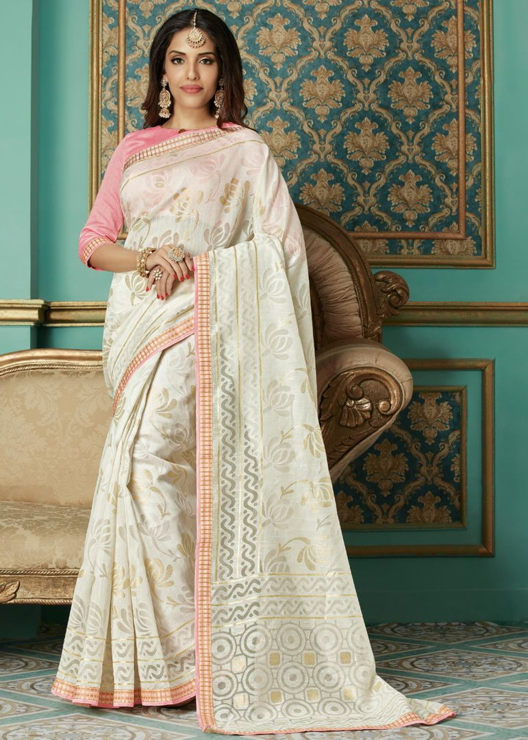 Off White Color Brasso Aesthetic Party Wear Sarees NYF-4382 - YellowFashion.in