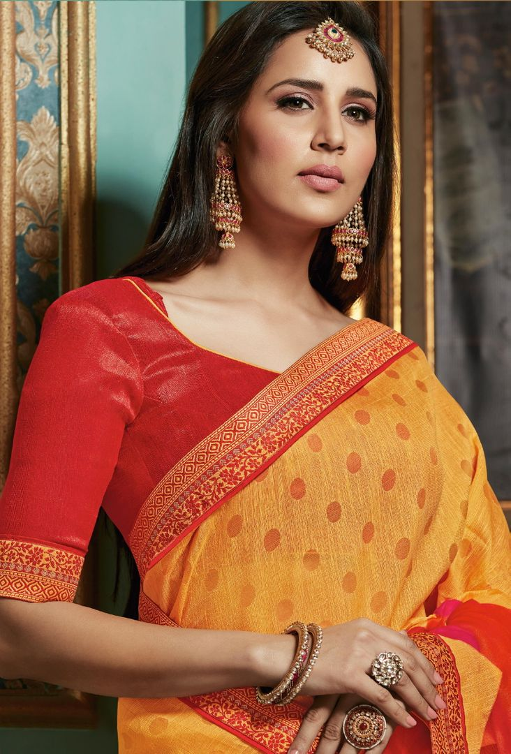 Yellow Color Bhagalpuri Aesthetic Party Wear Sarees NYF-4383 - YellowFashion.in