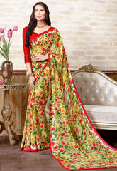 Green & Red Color Georgette Casual Wear Sarees : Manvira Collection  YF-48969