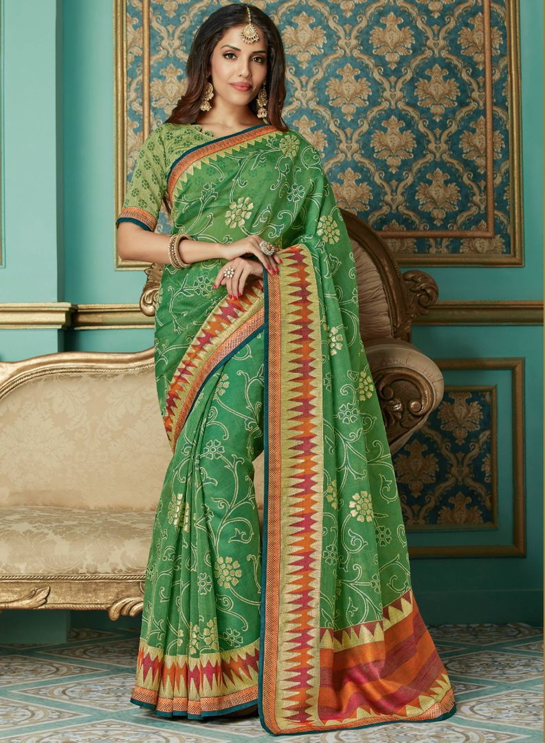 Green Color Brasso Aesthetic Party Wear Sarees NYF-4384 - YellowFashion.in