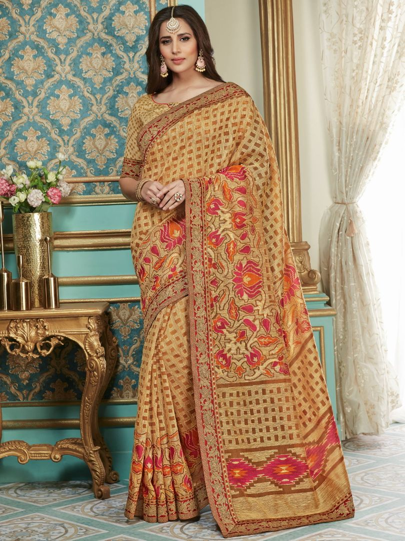 Light Coffee Color Brasso Aesthetic Party Wear Sarees NYF-4385 - YellowFashion.in