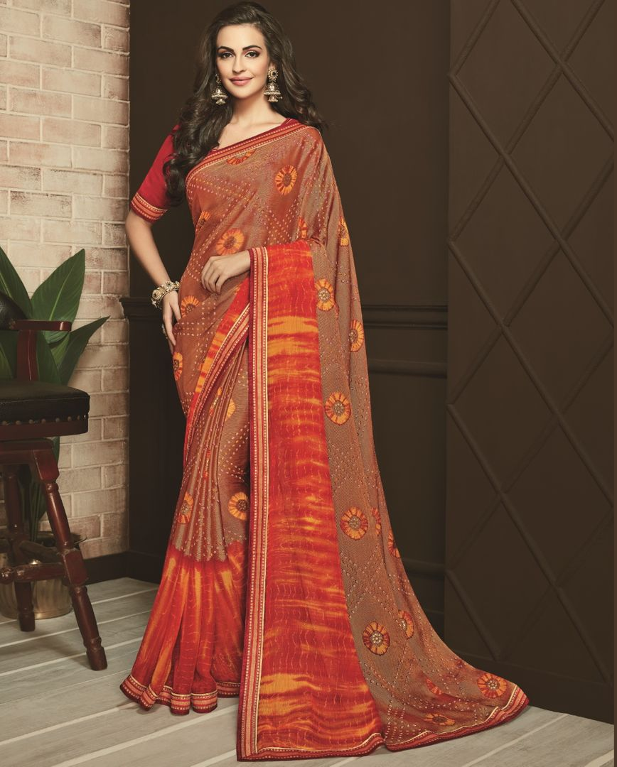 Brown & Orange Color Silk Designer Festive Sarees NYF-3744 - YellowFashion.in