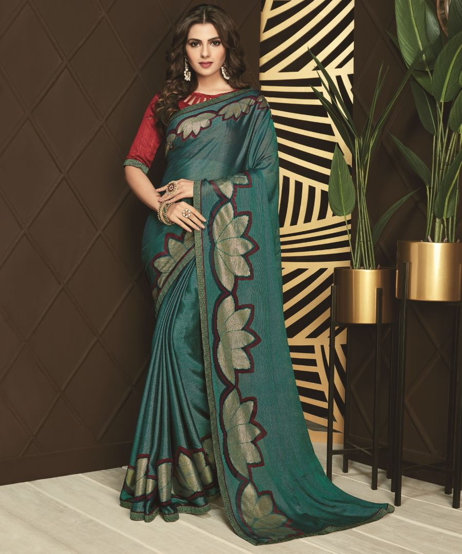 Rama Green Color Silk Designer Festive Sarees NYF-3745 - YellowFashion.in