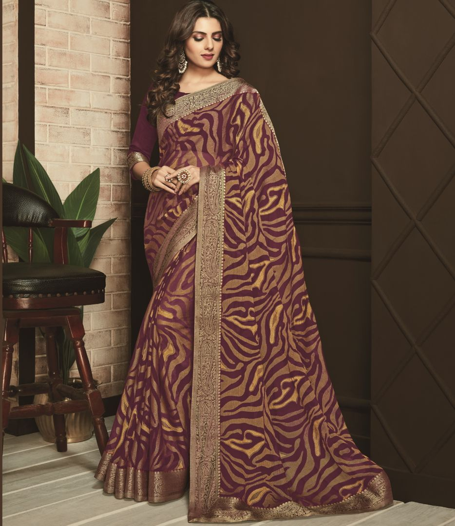 Purple Color Chiffon Brasso Designer Festive Sarees NYF-3749 - YellowFashion.in