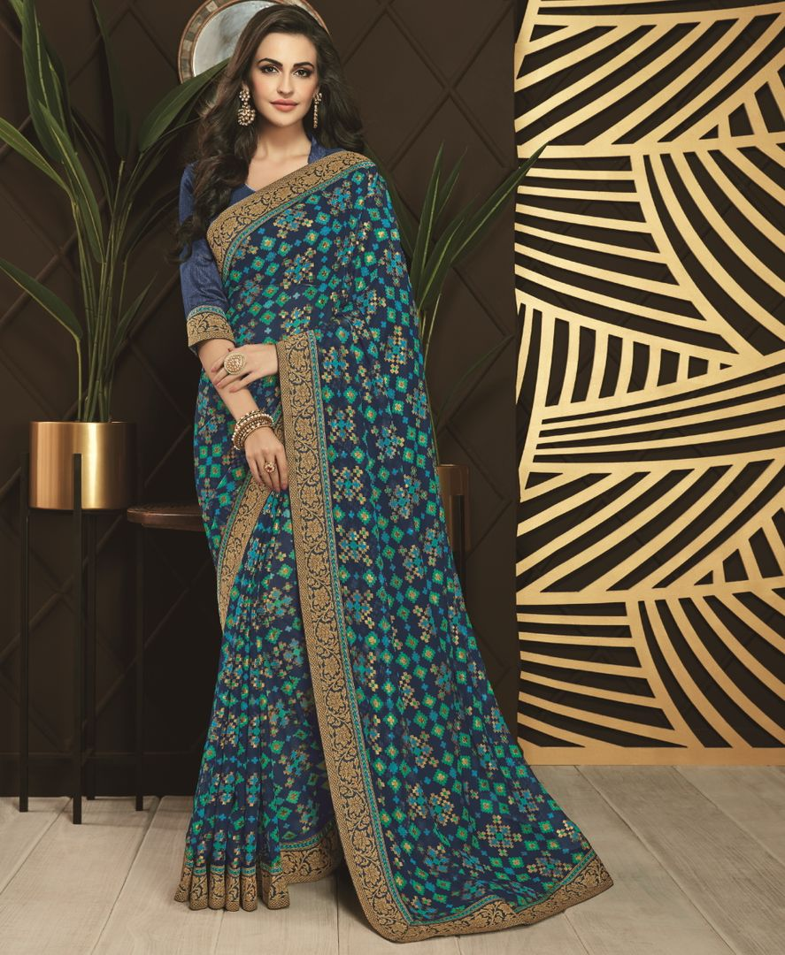 Blue Color Chiffon Brasso Designer Festive Sarees NYF-3750 - YellowFashion.in