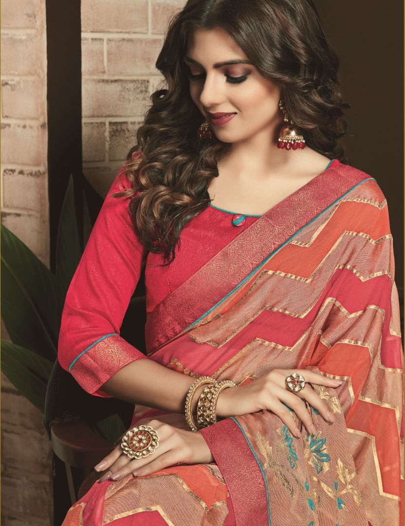Pink & Golden Color Silk Designer Festive Sarees NYF-3753 - YellowFashion.in