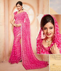 Pink Color Georgette Festival & Function Wear Sarees : Anvika Collection  YF-44024