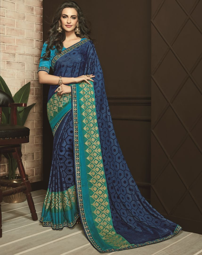 Blue Color Chiffon Designer Festive Sarees NYF-3758 - YellowFashion.in