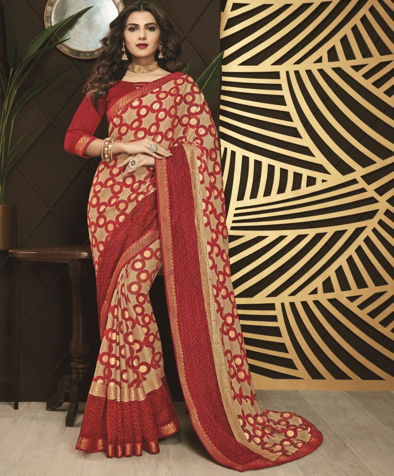 Maroon & Golden Color Chiffon Designer Festive Sarees NYF-3759 - YellowFashion.in