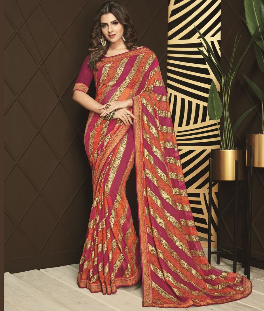 Pink & Orange Color Silk Designer Festive Sarees NYF-3761 - YellowFashion.in