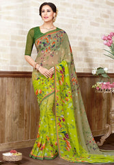 Light & Dark Green Color Marble Chiffon Casual Wear Sarees : Manvira Collection  YF-48973