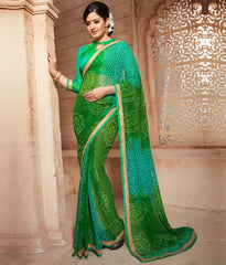 Green Color Georgette Festival & Function Wear Sarees : Anvika Collection  YF-44028