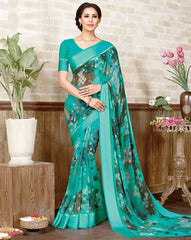 Green Color Georgette Casual Wear Sarees : Manvira Collection  YF-48975