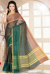 Green & Black Color Cotton Casual Wear Sarees : Dhir Collection  YF-31552