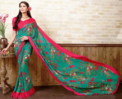 Green & Pink Color Georgette Casual Wear Sarees : Manvira Collection  YF-48978