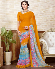 Orange Color Marble Chiffon Casual Wear Sarees : Manvira Collection  YF-48979