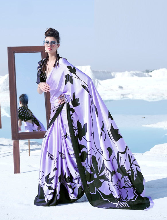 Lavender and Black Color Italian Satin Crepe Casual Wear Saree - Chitrani Collection YF#11025