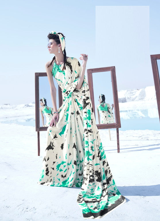 Off White and Sea Green Color Italian Satin Crepe Casual Wear Saree - Chitrani Collection YF#11029