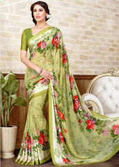 Light Green Color Georgette Casual Wear Sarees : Manvira Collection  YF-48981