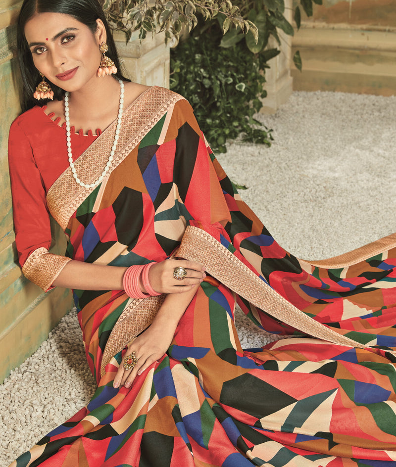 Multi Color Georgette Youthful Kitty Party Sarees NYF-5668