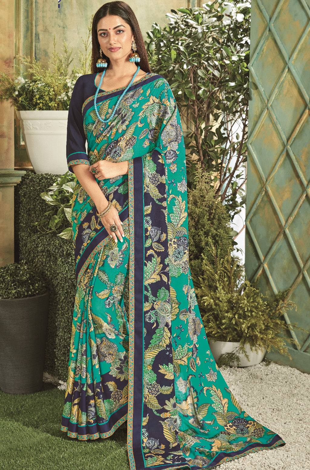 Green & Blue Color Georgette Youthful Kitty Party Sarees NYF-5669