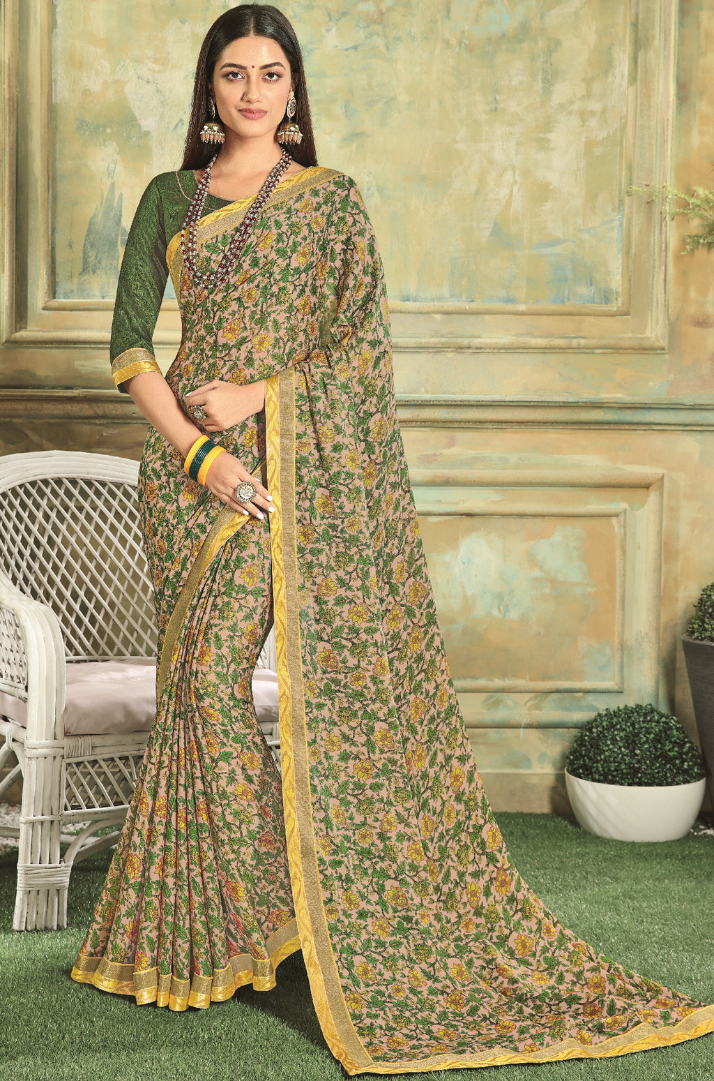 Green Color Georgette Youthful Kitty Party Sarees NYF-5670