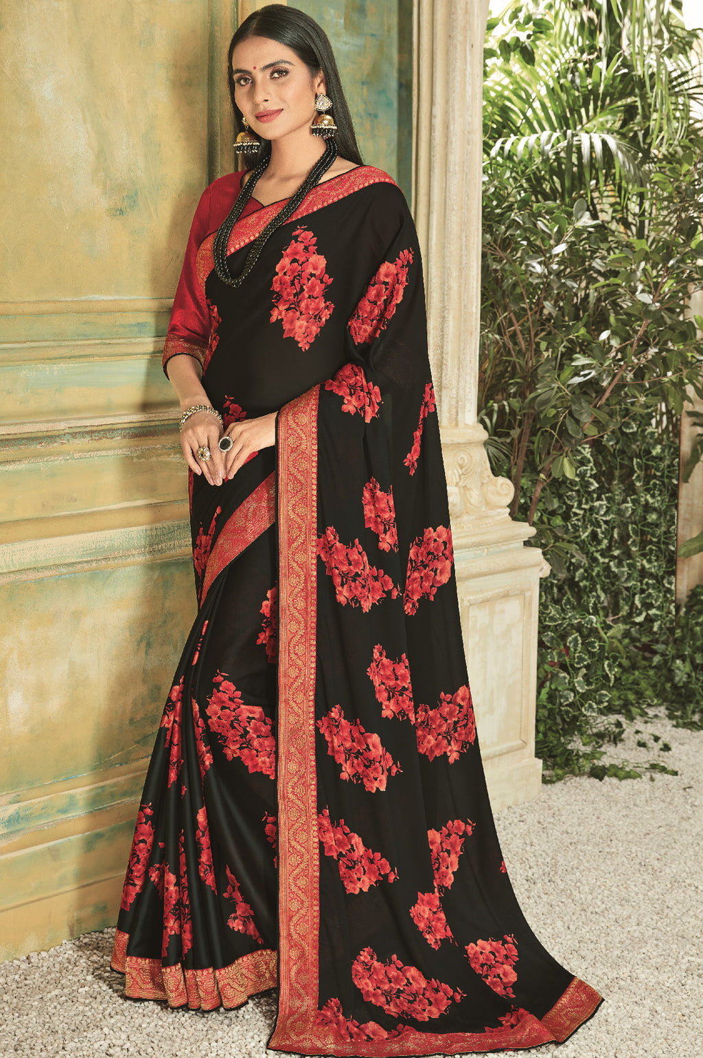 Black Color Georgette Youthful Kitty Party Sarees NYF-5671