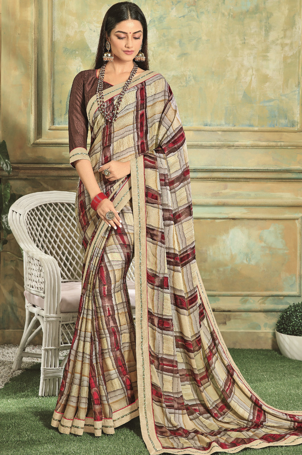 Multi Color Georgette Youthful Kitty Party Sarees NYF-5672