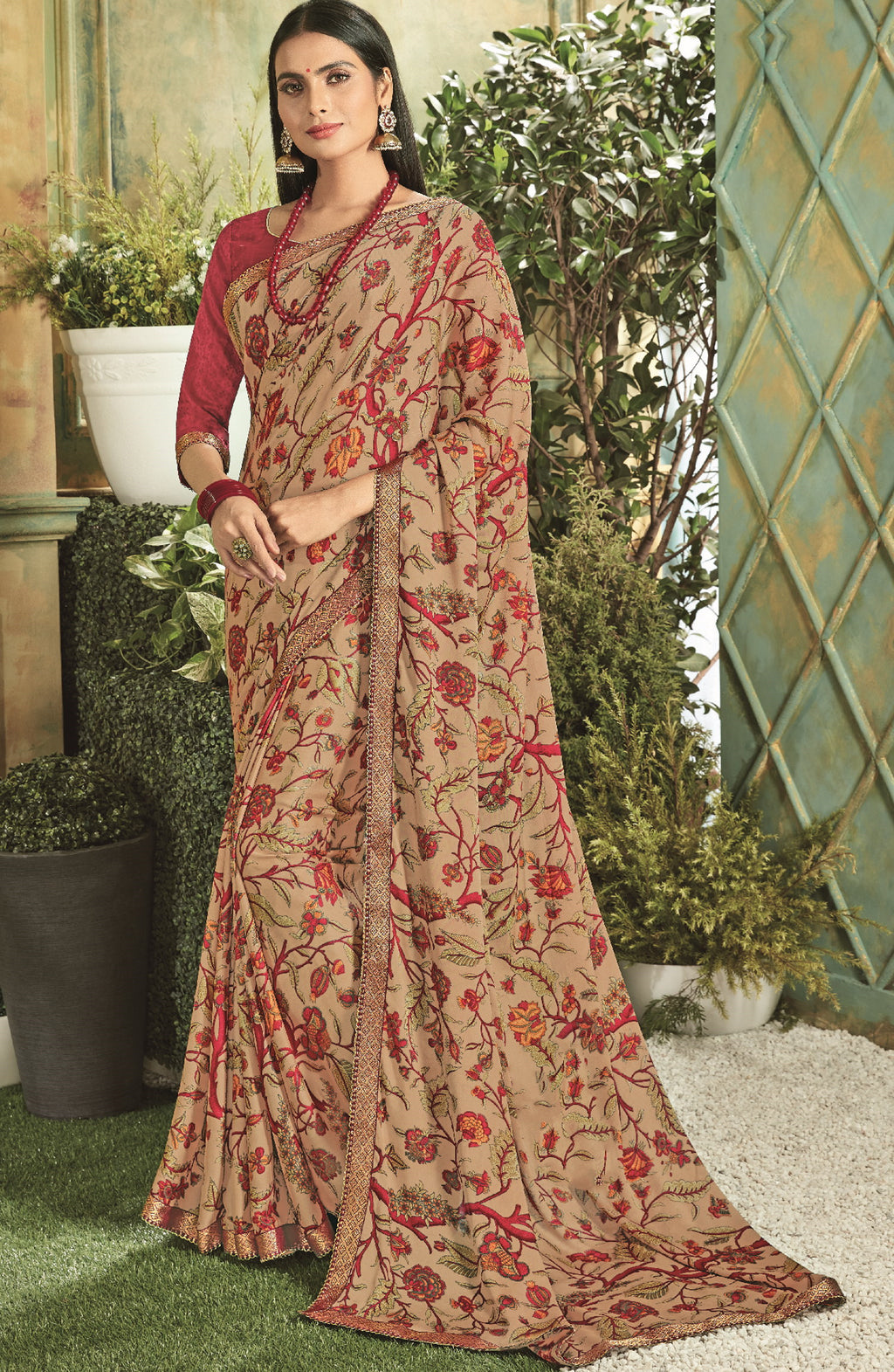 Beige Color Georgette Youthful Kitty Party Sarees NYF-5673