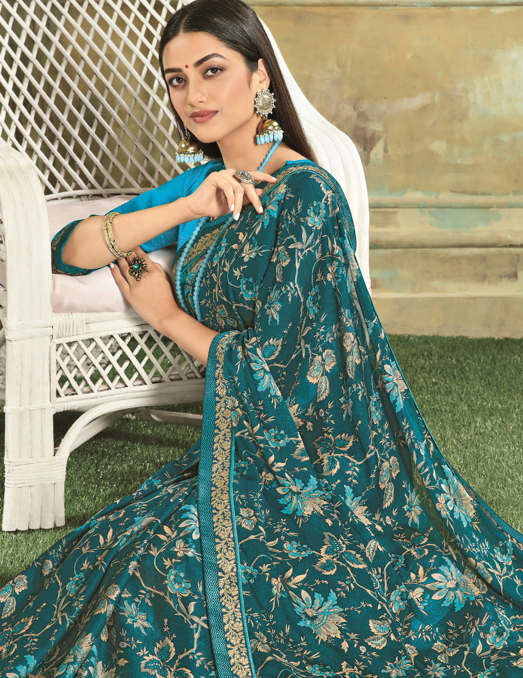 Rama Blue Color Georgette Youthful Kitty Party Sarees NYF-5674
