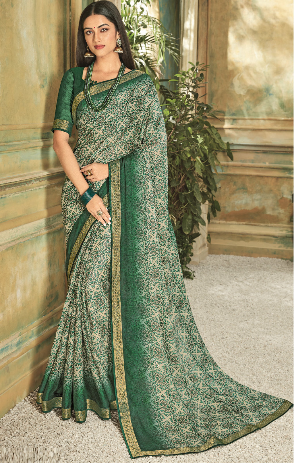 Cream & Green Color Georgette Youthful Kitty Party Sarees NYF-5676