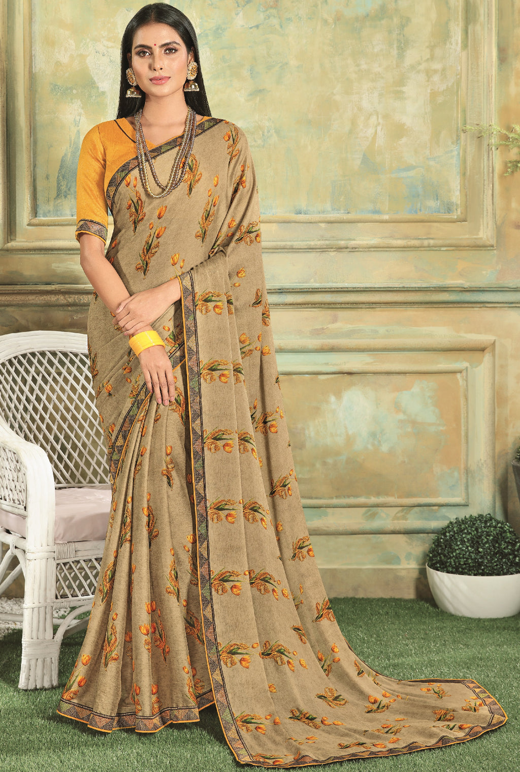 Beige Color Georgette Youthful Kitty Party Sarees NYF-5679