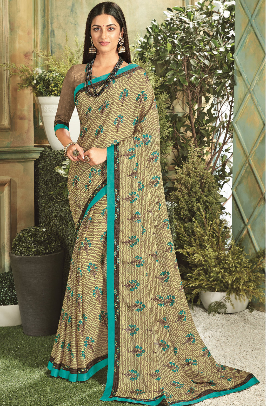 Beige Color Georgette Youthful Kitty Party Sarees NYF-5680