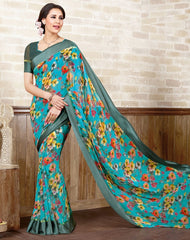 Ocean Blue Color Georgette Casual Wear Sarees : Manvira Collection  YF-48986