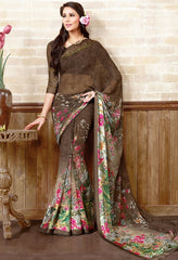 Brown Color Georgette Casual Wear Sarees : Manvira Collection  YF-48988