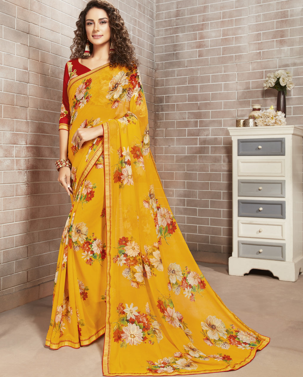 Yellow Color Georgette Lovely Office Wear Sarees NYF-6211