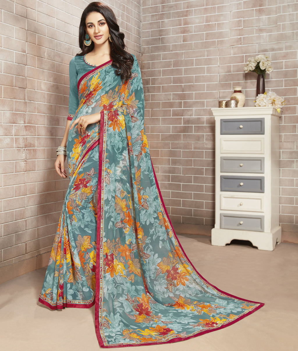 Grey Color Georgette Lovely Office Wear Sarees NYF-6213