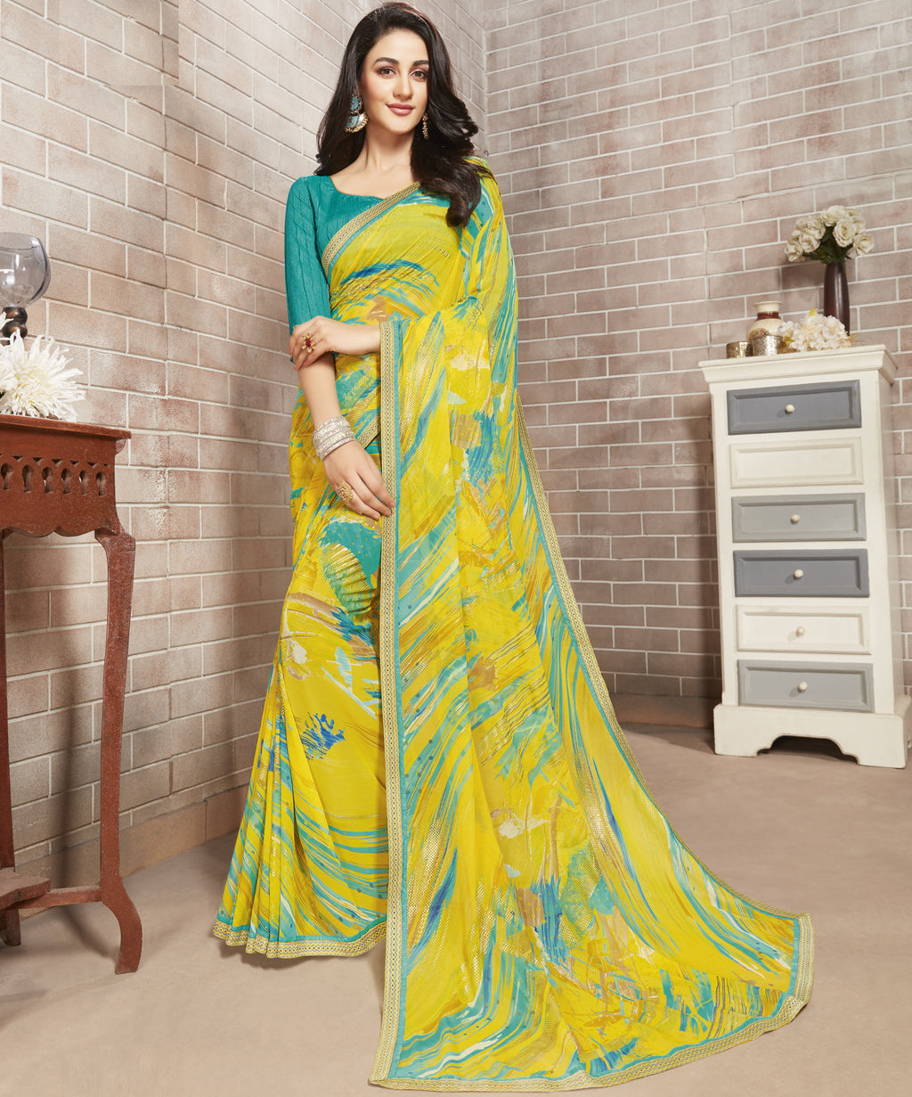 Lemon Yellow Color Georgette Lovely Office Wear Sarees NYF-6215