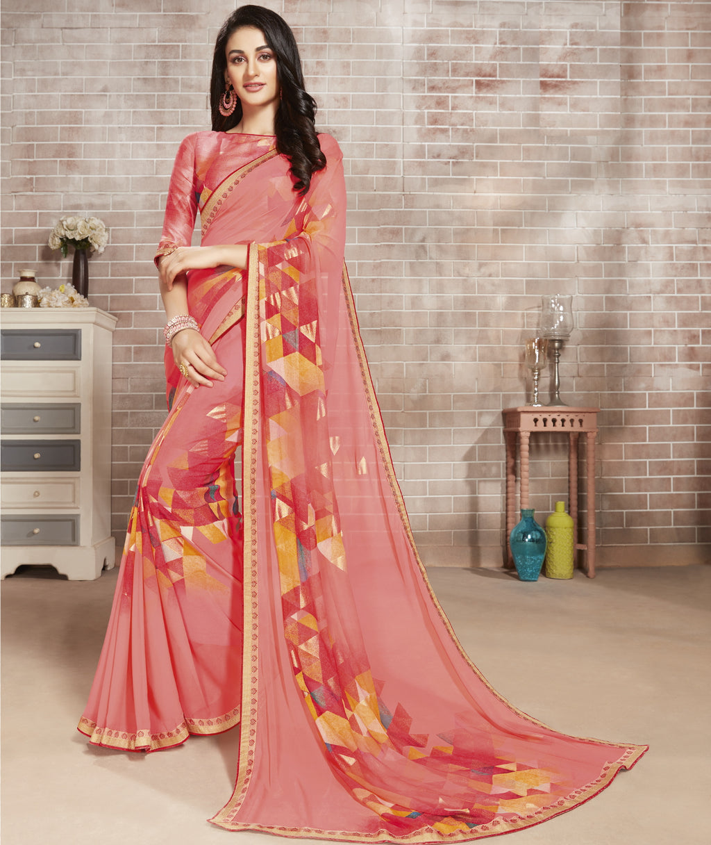 Pink Color Georgette Lovely Office Wear Sarees NYF-6217