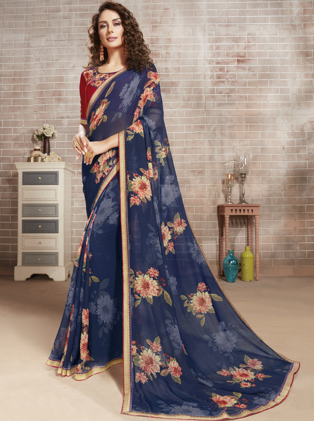 Blue Color Georgette Lovely Office Wear Sarees NYF-6219