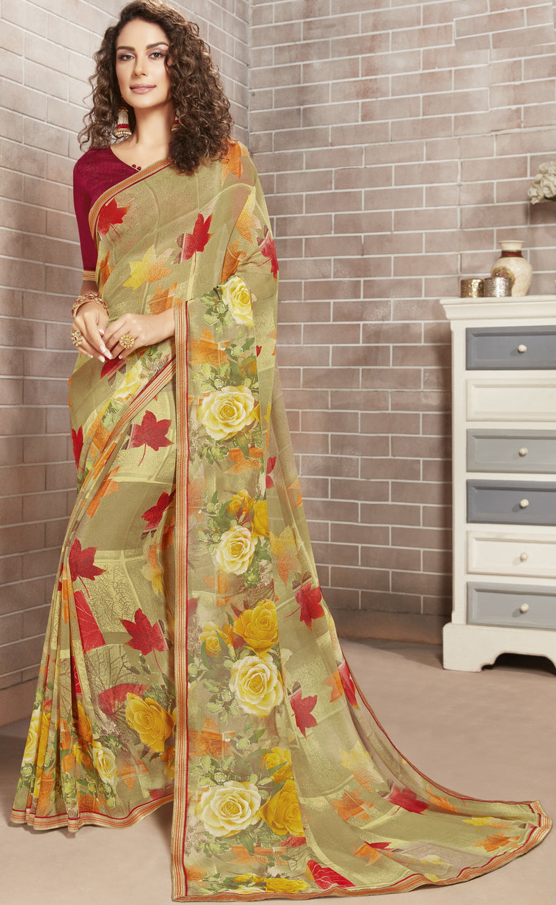 Mehendi Green Color Georgette Lovely Office Wear Sarees NYF-6220