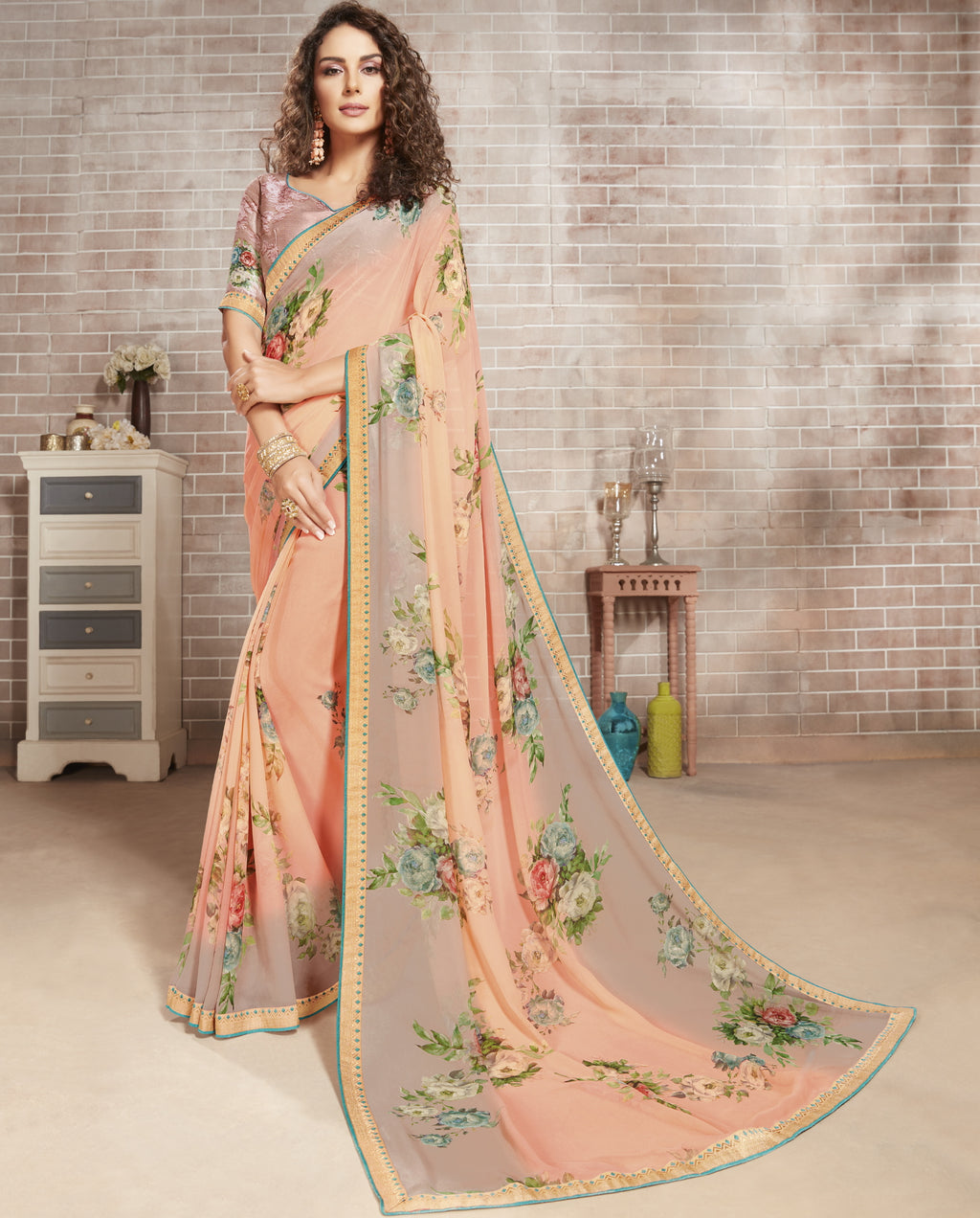 Baby Pink Color Georgette Lovely Office Wear Sarees NYF-6221