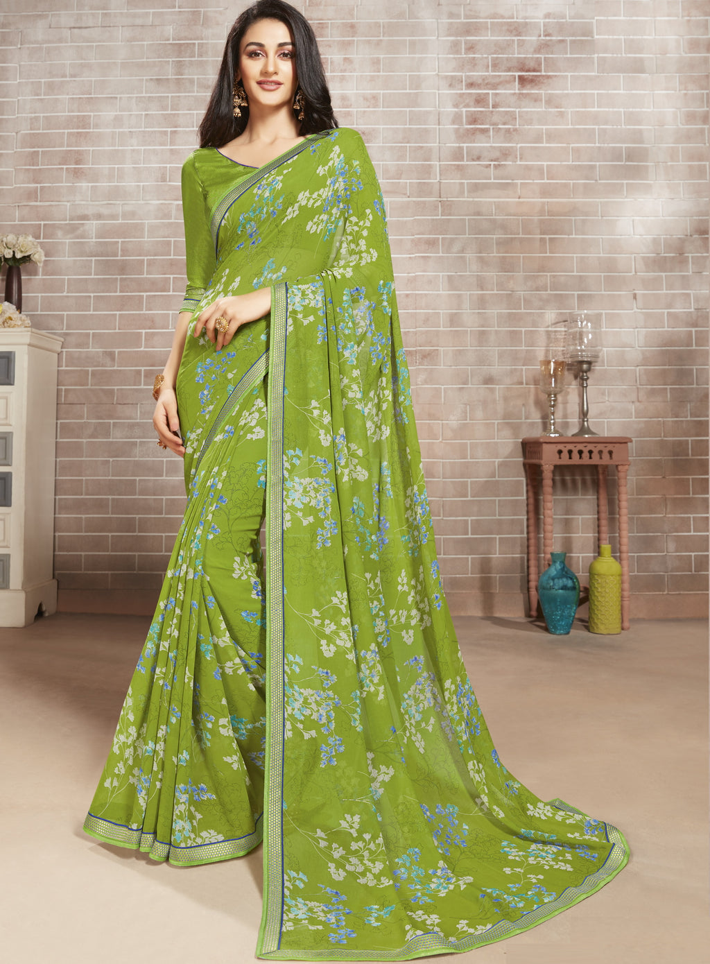 Leaf Green Color Georgette Lovely Office Wear Sarees NYF-6223