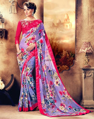 Lavender Color Georgette Kitty Party Sarees : Holika Collection  YF-38260