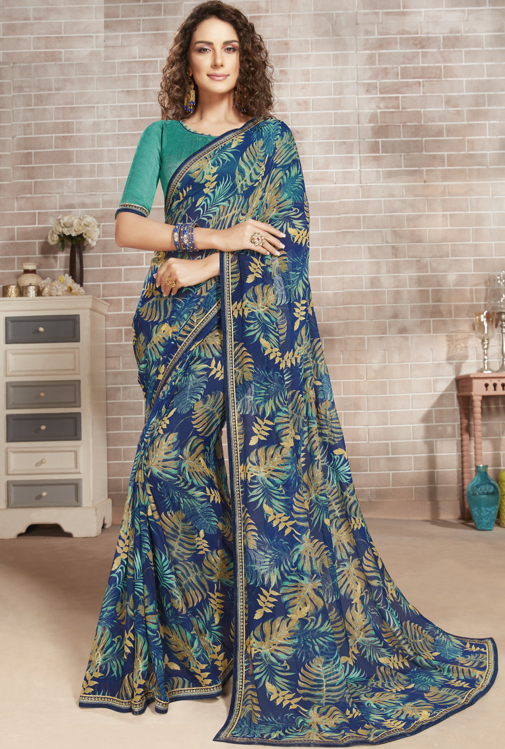 Blue Color Georgette Lovely Office Wear Sarees NYF-6224